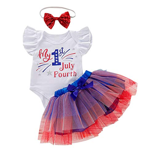 Hattfart 4th July Baby Boys Girls Clothes My First 4th of July Short Sleeve Romper American Flag Shorts 40th of July Outfit Set