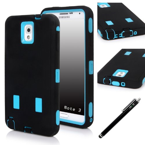 E LV N3-ARM-BLK/Blu Dual Layer Armor Defender Full Body Protective Case, Shock-Absorption High Resistant for Samsung Galaxy Note 3 Bundle with stylus, Black on Blue (Galaxy Note 3 Stylus)