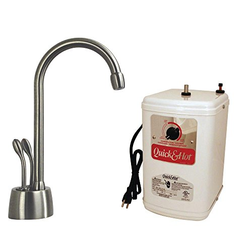 - Westbrass D272H-07 Develosah Two-Handle Hot and Cold Water Dispenser Faucet with Tank, Satin Nickel