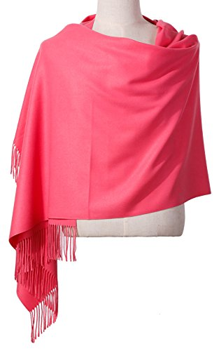 Womens Pashmina Shawl Wrap Scarf - Ohayomi Solid Color Cashmere Stole Extra Large 78''x28'' (Watermelon Red) by OHAYOMI