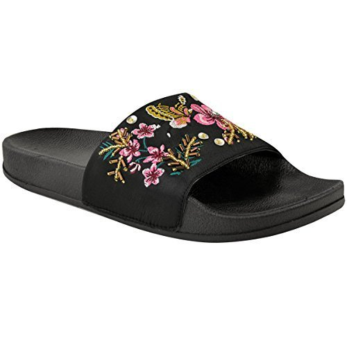 Fashion Thirsty Heelberry® Womens Ladies Flat Sandals Summer Sliders Comfy Floral Embroidered Slip On Size Black Satin zOREZJC