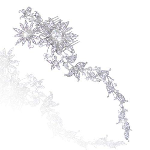 EVER FAITH Bridal 9 Inch Leaf Sunflower Hair Comb Clear Austrian Crystal