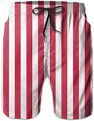 HEAGRWGRE Rayas Blancas Rojas Pantalones Sueltos de Playa para ...