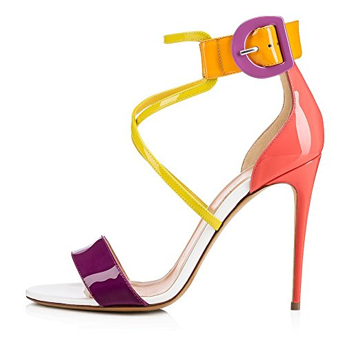 Strap Sandals Color Shoes Size for Dress Women's 45 Stiletto Color Candy Pointed Summer Heel Evening Platform Cross A Party amp; PU Shiny Toe 1UdIqdY