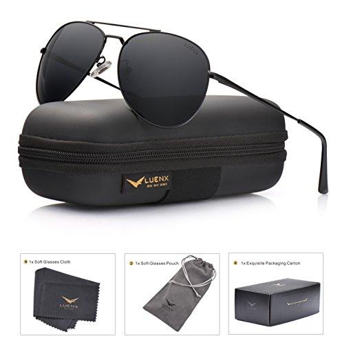 LUENX Aviator Sunglasses Polarized Men Women with Accessories Metal Frame UV 400 60MM – DiZiSports Store