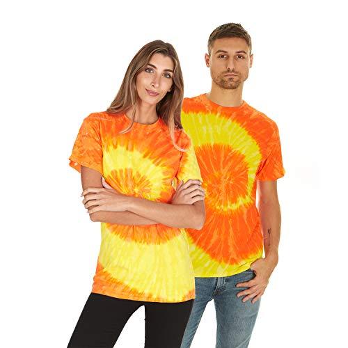 Krazy Tees Tie Dye T-Shirt, Spiral Yellow Orange, S