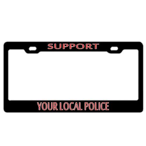YEX Abstract Support Your Local Police(2) License Plate Frame Car License Plate Covers Auto Tag Holder 6
