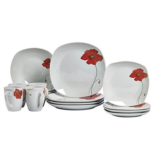 (Tabletops Gallery Poppy - 16 Piece Square Dinnerware Set, Service of 4)