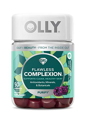 OLLY Flawless Complexion Gummy, 25 Day Supply (50 Count), Berry Fresh, Vitamins E, A, Zinc, Chewable Supplement