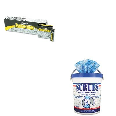 KITEVEEN91ITW42272CT - Value Kit - SCRUBS Hand Cleaner Towels (ITW42272CT) and Energizer Industrial Alkaline Batteries (EVEEN91)