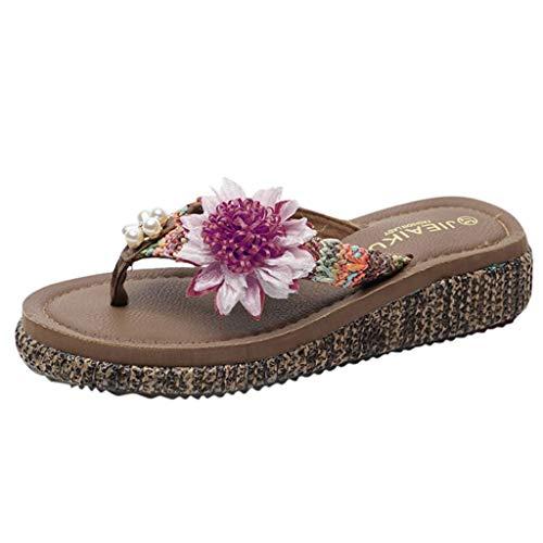 RAINED-Women's Slide Sandals Flat Sandal Slip On Flip Flops Flower Splicing Platform Sandals Flat Thong Sandals - Body Shaper Marilyn Monroe