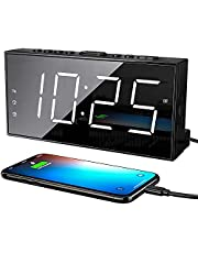 """Extra Loud Alarm Clock for Heavy Sleepers, Deaf and Hearing-impaired, Dual Alarm Clock with USB Charger with 7"""" Large LED Display Screen, 5 Brightness Digital Alarm Clock for Bedroom Kitchen Office, Snooze, 12/24H(White)"""