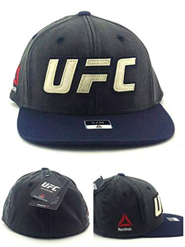 Reebok UFC RBK MMA Distressed Gray Blue Fitmax Flat Flex Fit Fitted Hat Cap S/M
