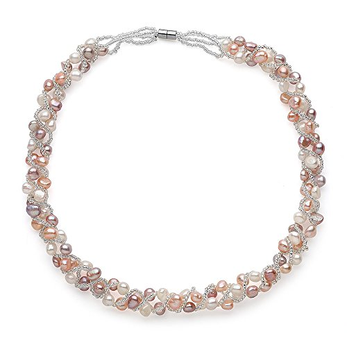 Sugoi Pearls Multi Colour Freshwater Cultured Weaved Pearl Necklace, Magnetic Clasp