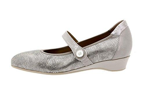 Calzado mujer confort de piel Piesanto 8727 zapato velcro plantilla extraíble cómodo ancho Gris