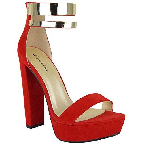 Fashion Thirsty Womens Gold Ankle Strap Cuff Block High Heel Platform Sandals Court Shoes Size 6