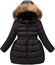 CH&Q Kids Girls Down Jacket Winter Dress Coat New Kids White Duck Down Parkas for Girls with Fur