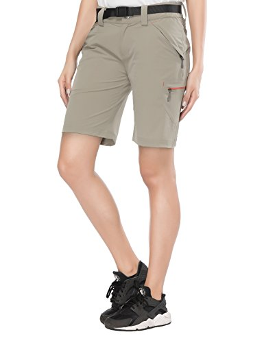 MIER Womens Lightweight Cargo Shorts Outdoor Stretchy Hiking Shorts with Zipper Pockets, Adjustable Waist, Quick Dry