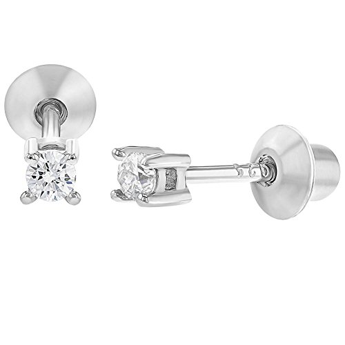 925 Sterling Silver Baby Earrings Screw Back Girls Children's Clear CZ 2mm