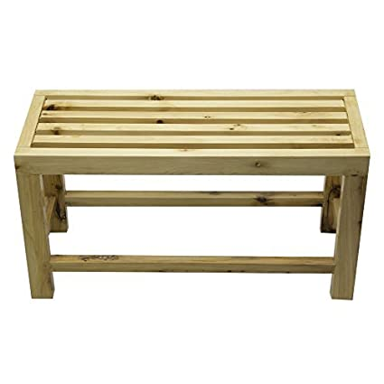Alfi Brand Ab4401 26 Inch Solid Wood Slated Single Person Sitting Bench