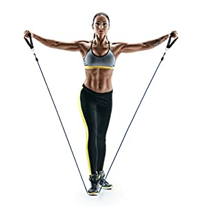 SALE! - Resistance Bands by SmarterLife   Portable Exercise Bands for Travel, Physical Therapy and Home Gym (5-Band Set with Padded Handles, Ankle Straps, Carabiners, Door Anchor)