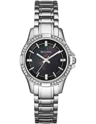 Bulova 96L214 Womens Classic Black MOP Dial Stainless Steel Bracelet Crystal Watch