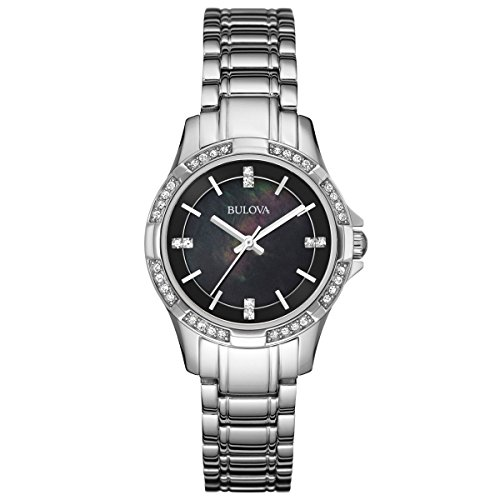 Bulova 96L214 Women's Classic Black MOP Dial Stainless Steel Bracelet Crystal Watch