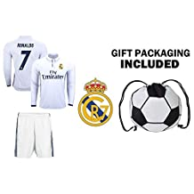 Fan Kitbag Cristiano Ronaldo #7 Real Madrid Long Sleeve Soccer Jersey & Shorts Kids Youth Sizes ✓ Premium Gift Kit ✓ Soccer Backpack INCLUDED