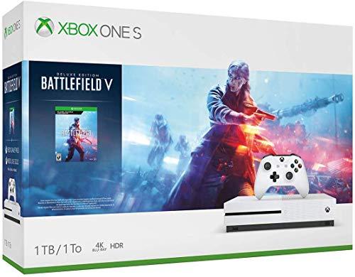 Microsoft Xbox One S 1TB/2TB Battlefield V Bonus Bundle: Battlefield V Deluxe Edition, Xbox Wireless Controller, Xbox One S Console – White
