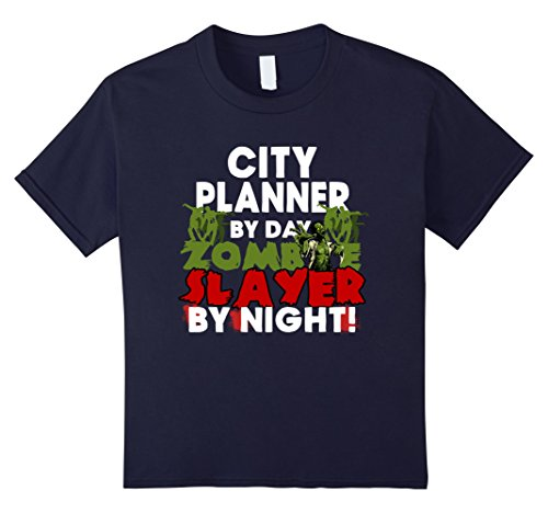 [Kids Funny Halloween Tee Shirts City Planner Zombie Slayer Shirt 10 Navy] (Zombie Girl Costume Party City)