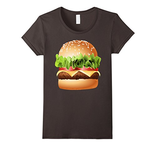 Womens Burger T-Shirt GIANT CHEESEBURGER Shirt Hamburger Bacon Gift XL Asphalt (Hamburger Gifts)
