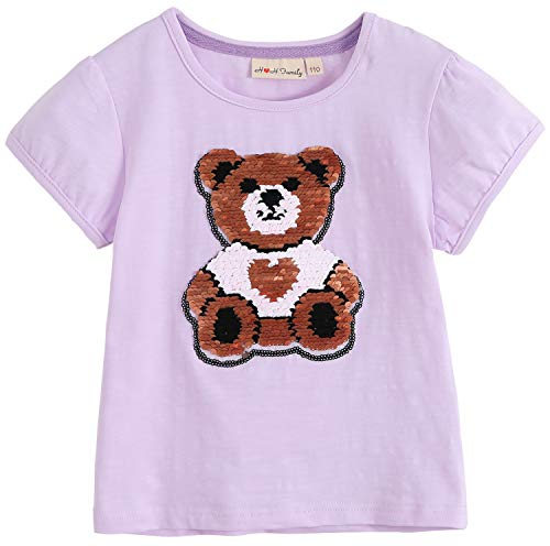 - Glitter Flip Sequin Girl's T-Shirt Top Short/Long Sleeve, Fleece Jacket 3-12 Years (3, Short Purple Bear)