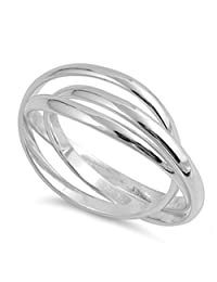 Triple Interlocked Rolling Stacking Ring Sterling Silver Wedding Band Sizes 4-13