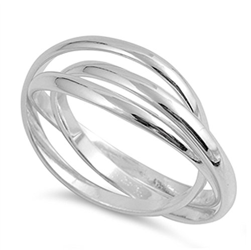 Rolling Ring Silver (Triple Interlocked Rolling Stacking Ring Sterling Silver Wedding Band Size 7)