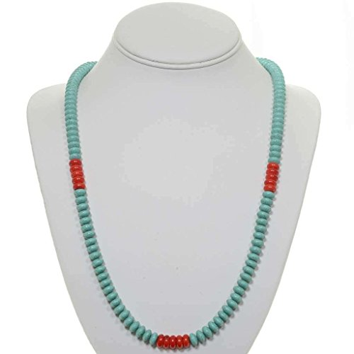 Turquoise Coral Necklace Navajo Silver Beaded Single Strand 0032 - Necklace Strand Turquoise Single