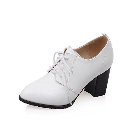 BalaMasa Chunky Heels Oxfords Ladies Bandage White Shoes Urethane Solid rZxrRtw