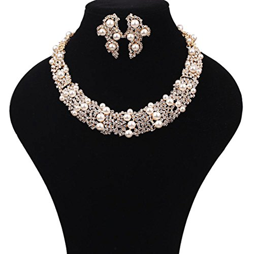 Baby's Breath Cream Pearl Rhinestone Necklace and Earrings Jewelry Set in Gold-Tone
