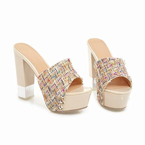 Mee Shoes Women's Sexy Peep Toe Block High Heel Platform Mules Apricot VlmzBd4yk
