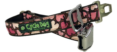 Cycle Dog Bottle Opener Recycled Dog Collar with Seatbelt Metal Buckle, Pink Hearts, Large (Seat Belt Metal Buckle)