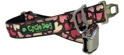 Seat Belt Metal Buckle (Cycle Dog Bottle Opener Recycled Dog Collar with Seatbelt Metal Buckle, Pink Hearts,)
