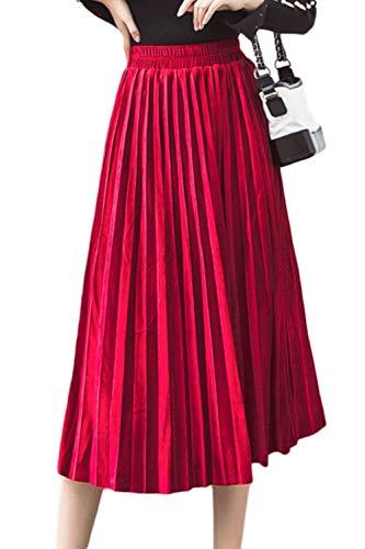 Femmes Jupes Velours Plisses Midi Rouge Ligne Taille Casual Haute Une Jupe Swing zAHRq