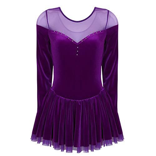 TiaoBug Women's Adult Velvet Double Layer Mesh Skirt Figure Skating Dress Dark Purple Small