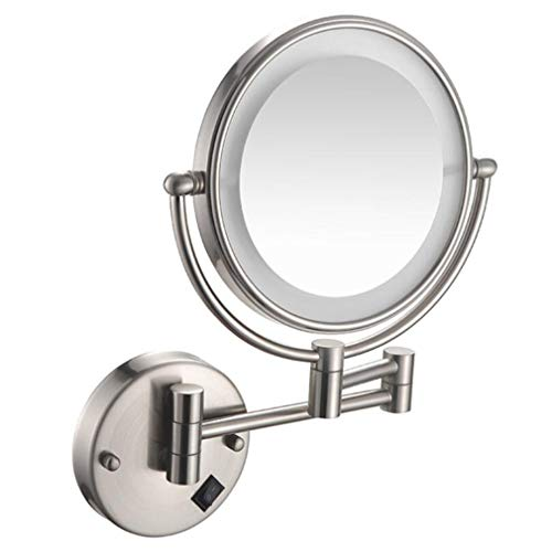 CUUYQ LED Makeup Vanity Mirror, Two-Sided Wall Mounted Magnification Bathroom Mirror 360° - Pull Shelves Mirrors Bathroom Out