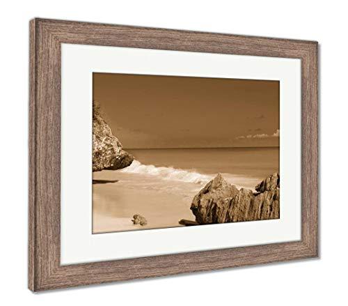 Ashley Framed Prints Tulum Beach Near Cancun Turquoise Caribbean, Wall Art Home Decoration, Sepia, 30x35 (Frame Size), Rustic Barn Wood Frame, AG5947555