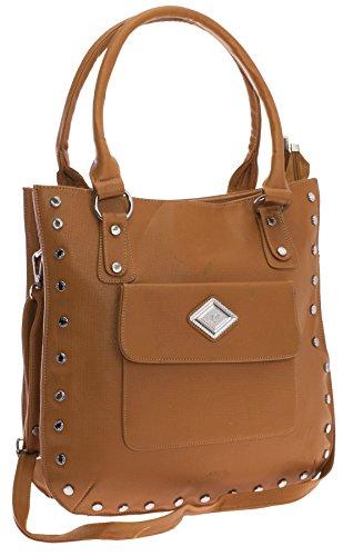 - Big Handbag Shop Womens Vegan Leather Studs Deco Hybrid Front Pocket Top Handle Shoulder Bag (Tan)
