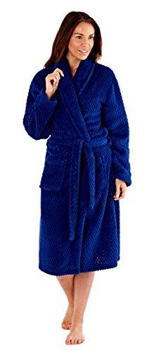 Inspirations patrón de panal de la mujer cuello forro polar albornoz Azul