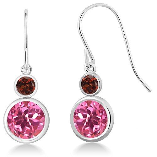 & Earrings Garnet Pink Topaz (4.94 Ct Round Pink Mystic Topaz Red Garnet 925 Sterling Silver Earrings)
