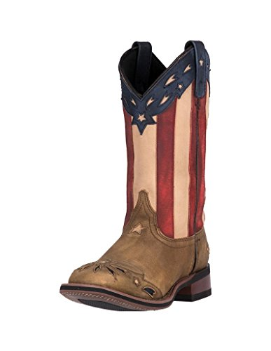 Laredo Womens Tan Freedom Leather Cowboy Boots 11in Stockman 9 M - Ladies American Flag Cowboy Boots