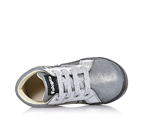 FALCOTTO - Chaussure à lacets argentée en cuir et tissu avec glitter, lacets argentés, logo à l'arrière et sur la languette, applications décoratives latérales, Fille, Filles