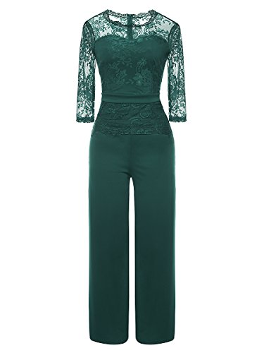 LSAME Women's Elegant Lace Spliced Playsuit Cocktail High Waisted Wide Leg Long Romper Jumpsuit (Green, XX-Large)